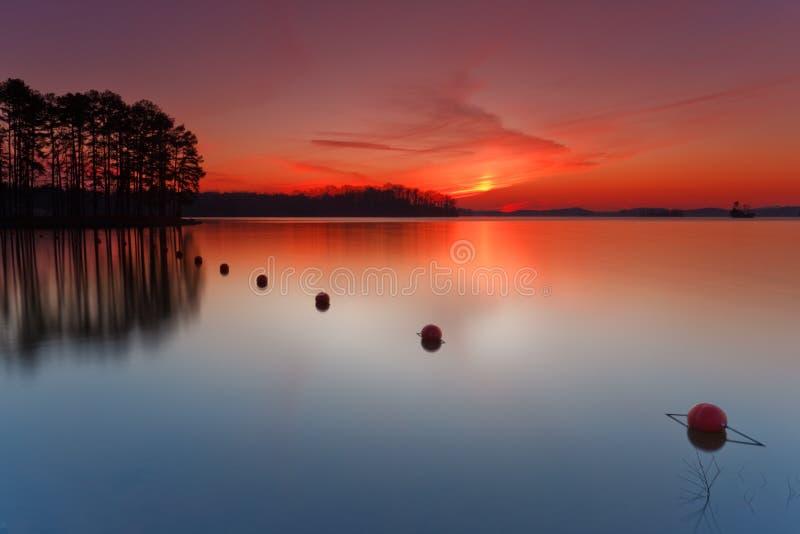 Tramonto sul lago Lanier immagini stock libere da diritti