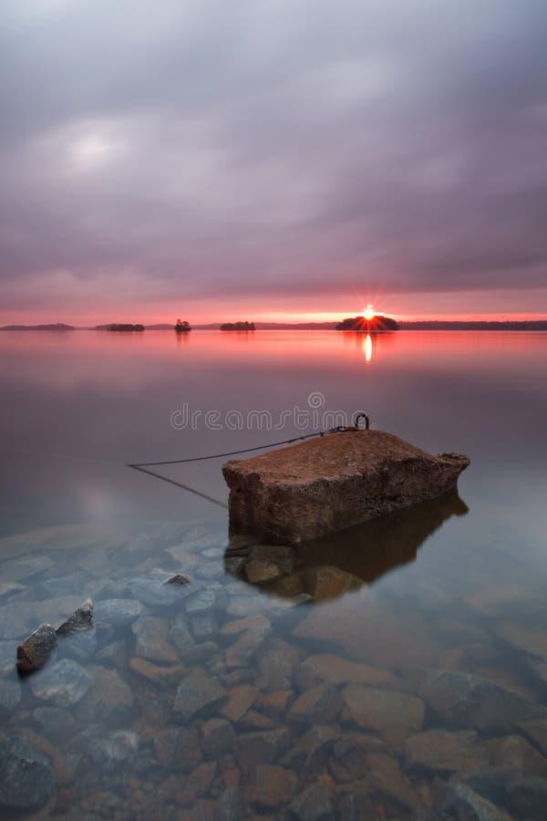 Tramonto sul lago Lanier immagine stock