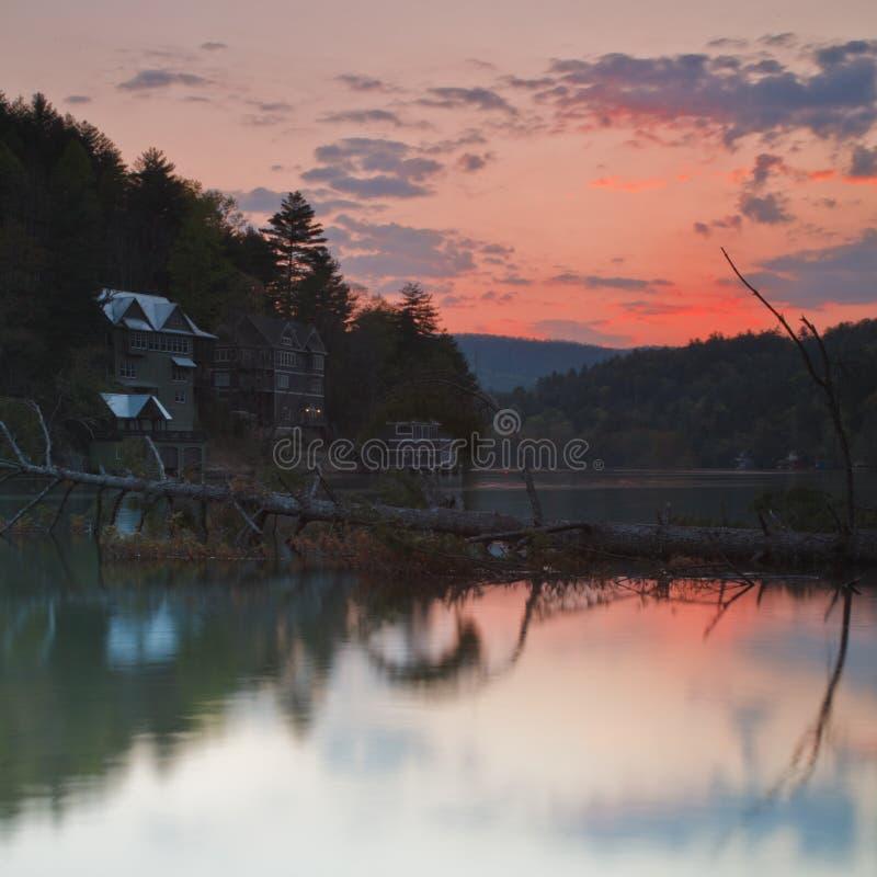 Tramonto sul lago Rabun immagine stock libera da diritti