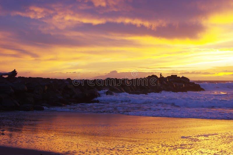 Tramonto sull'oceano, sulla spuma e sulla sabbia immagine stock libera da diritti