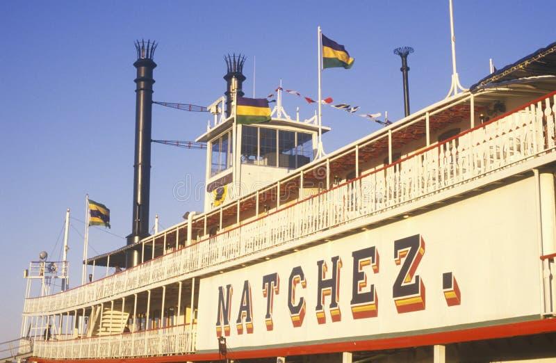 Tramonto sulla nave a vapore Natchez sul fiume Mississippi, New Orleans, Luisiana fotografie stock libere da diritti