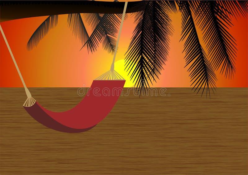 Tramonto sulla spiaggia royalty illustrazione gratis