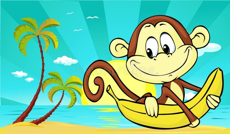 Tramonto sulla spiaggia con la palma e scimmia e banana sveglie - vettore royalty illustrazione gratis