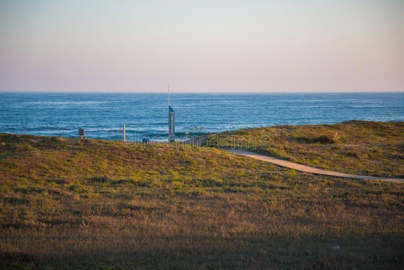 Tramonto sulla spiaggia del EL Prat fotografia stock