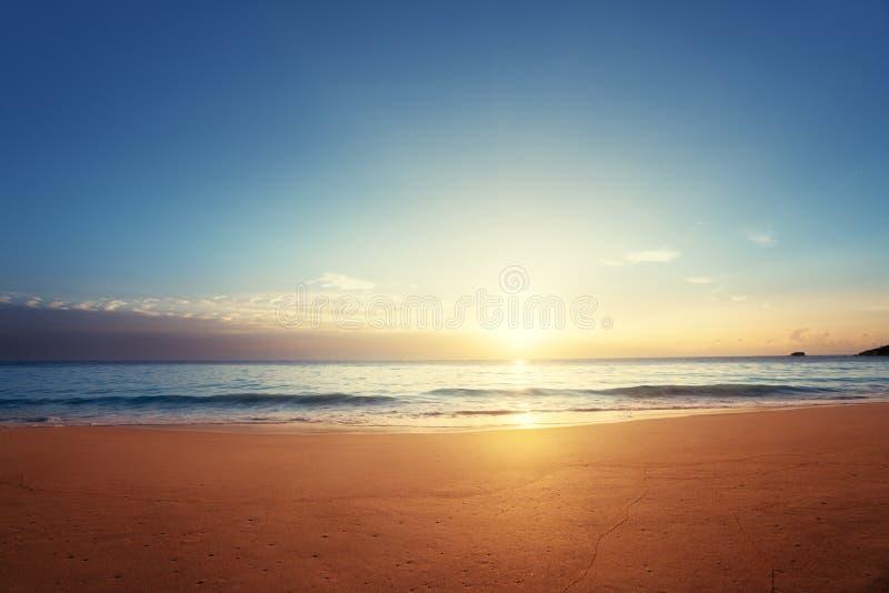 Tramonto sulla spiaggia delle Seychelles fotografie stock