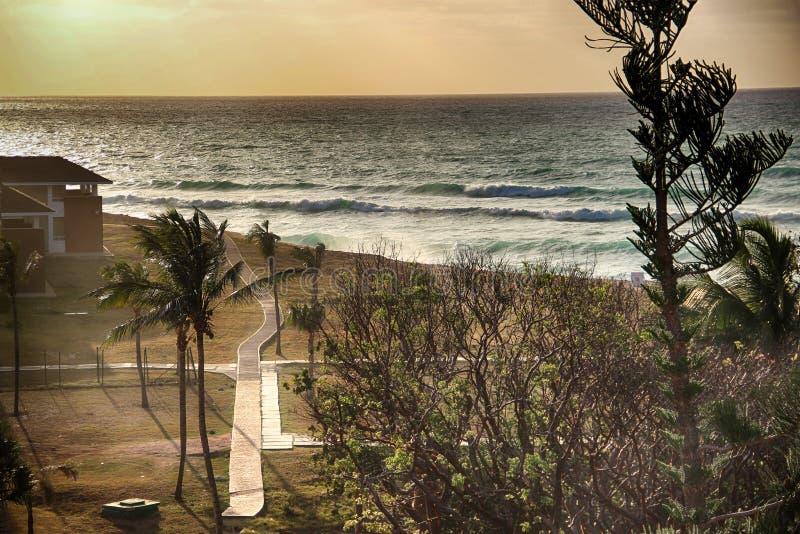 Tramonto sulla spiaggia Varadero in Cuba fotografia stock libera da diritti