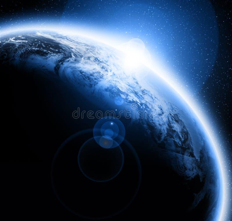 Tramonto sulla terra del pianeta illustrazione vettoriale