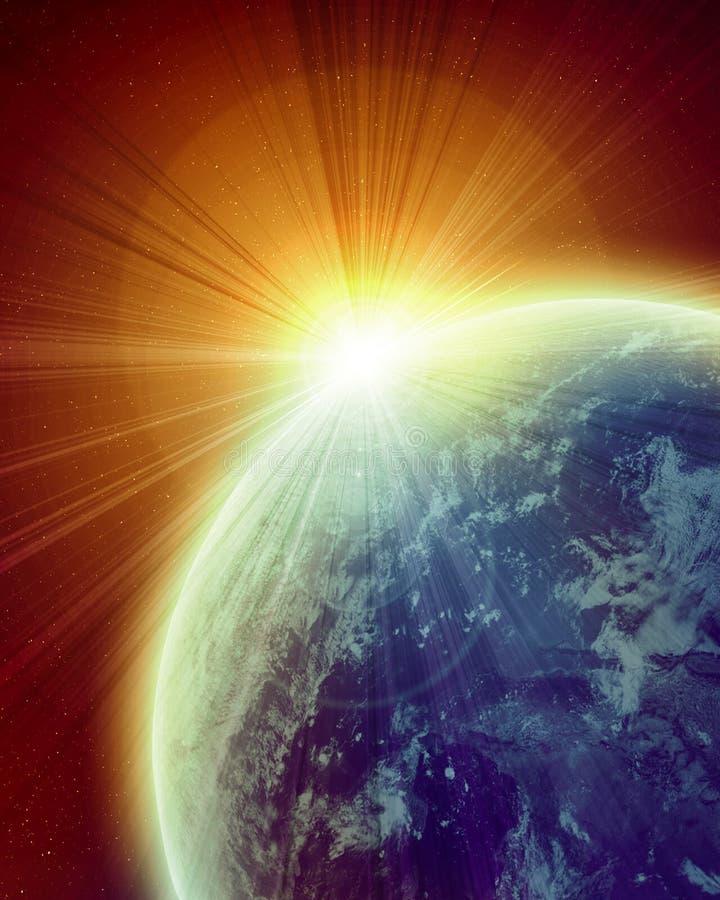 Tramonto sulla terra del pianeta illustrazione di stock