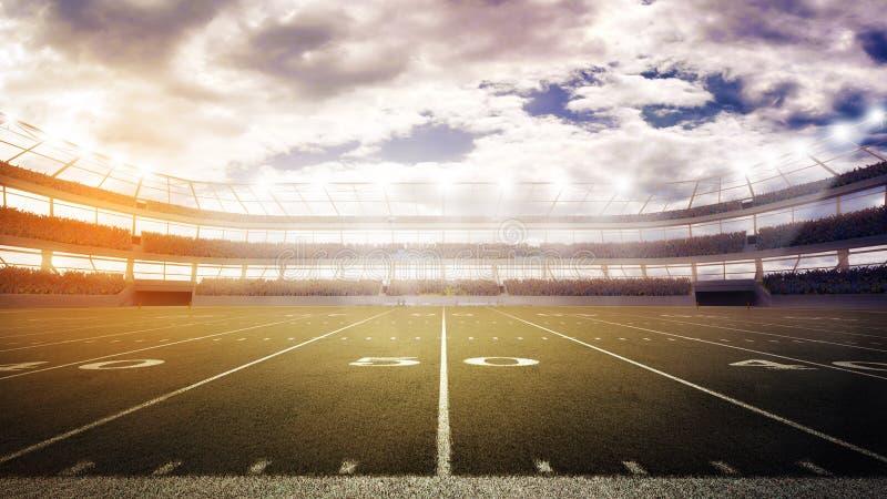 Tramonto sulla vista panoramica di stadio di football americano fotografia stock