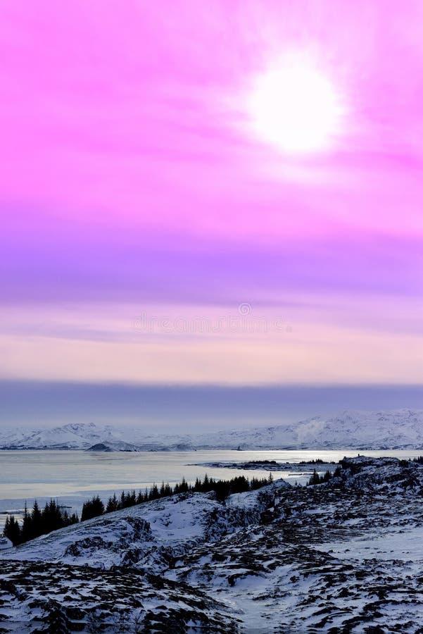 Tramonto a Thingvellir, Islanda immagini stock libere da diritti