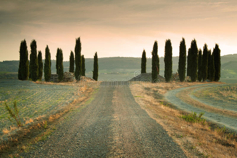 Tramonto in Toscana Italia fotografie stock libere da diritti