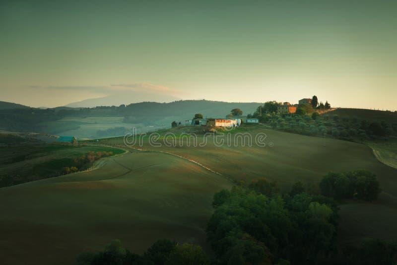 Tramonto in Toscana Italia fotografia stock