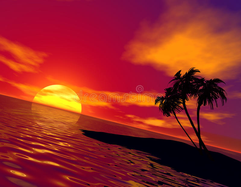 Tramonto tropicale illustrazione vettoriale