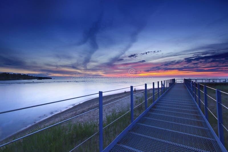 Tramonto variopinto al lago Erie immagini stock
