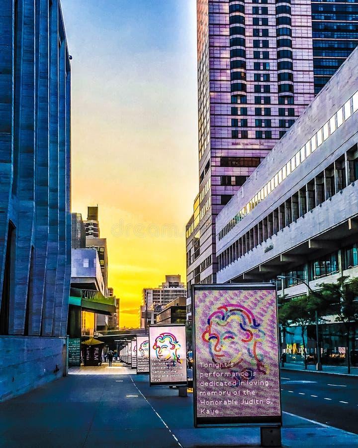 Tramonto variopinto di Lincoln Center fotografia stock libera da diritti