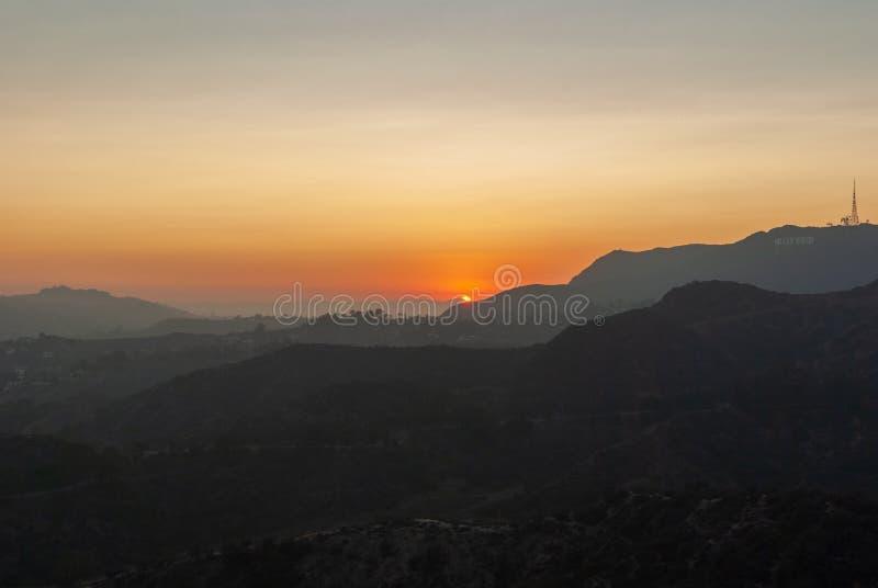 Tramonto visto da Griffith Park a Los Angeles fotografia stock libera da diritti