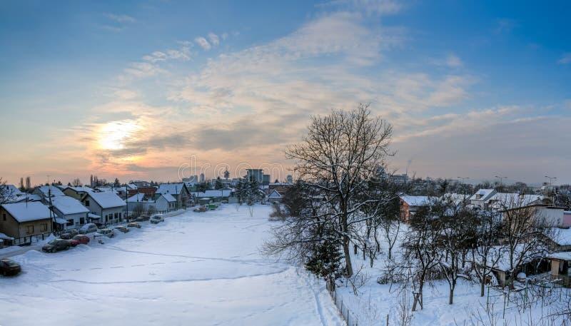 Tramonto a Zagabria fotografia stock libera da diritti