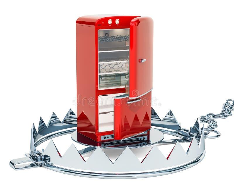 Trampa del oso del interior del refrigerador Concepto de la dieta, representación 3D libre illustration