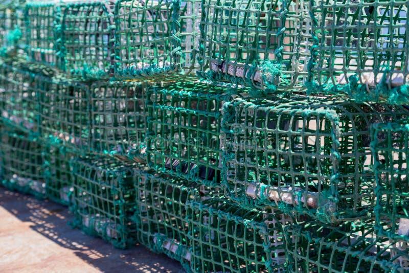 Trampas cuadradas del cangrejo verde en infante de marina imagen de archivo libre de regalías