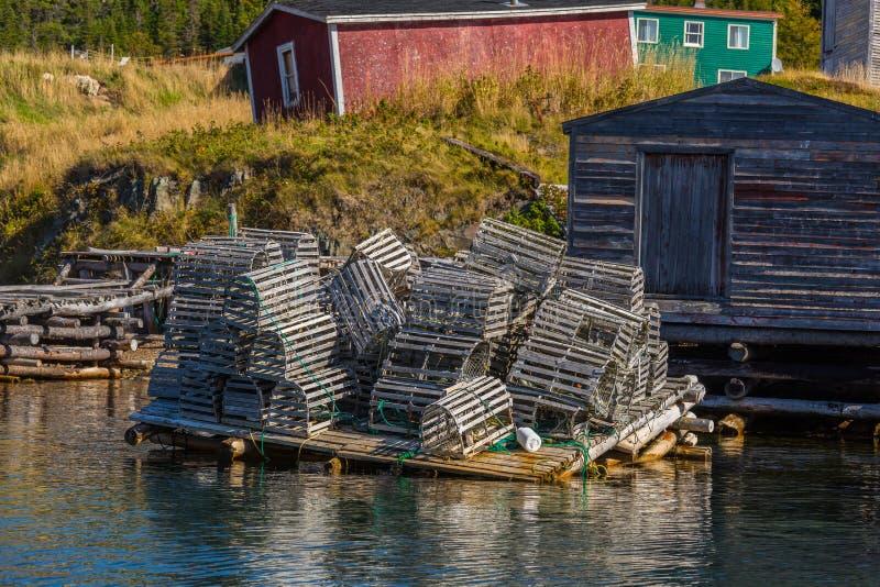 Trampas de la langosta de Terranova imagenes de archivo