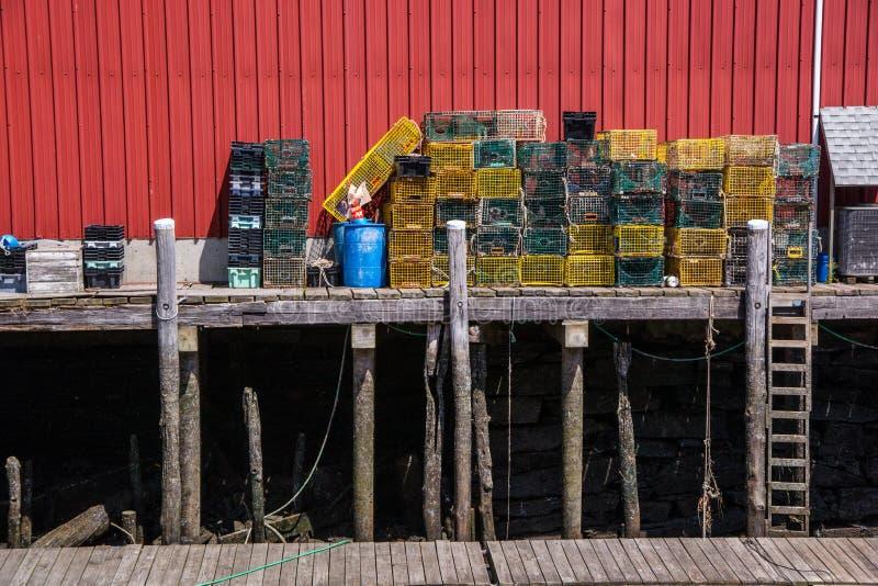 Trampas de la langosta del área de embarque fotos de archivo