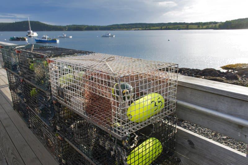 Trampas de la langosta en el puerto fotografía de archivo libre de regalías