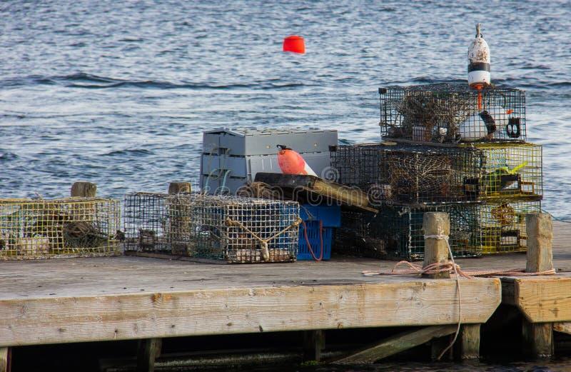 Trampas de la langosta en el puerto Maine de la barra fotografía de archivo libre de regalías
