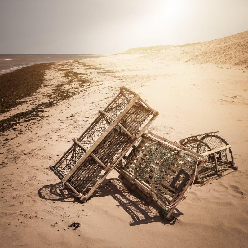 Trampas de la langosta en la playa foto de archivo