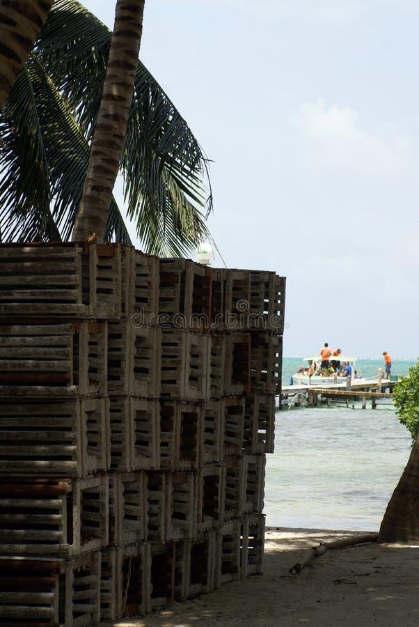 Trampas de la langosta en la playa fotos de archivo