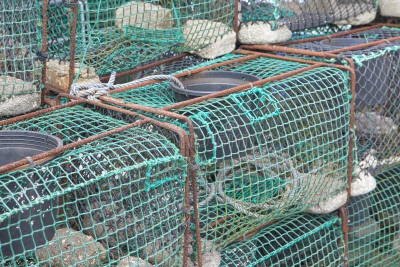 Trampas de la pesca en el puerto de Ribadesella imagen de archivo libre de regalías