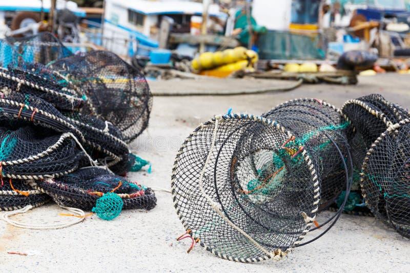 Trampas de la red para los mariscos foto de archivo