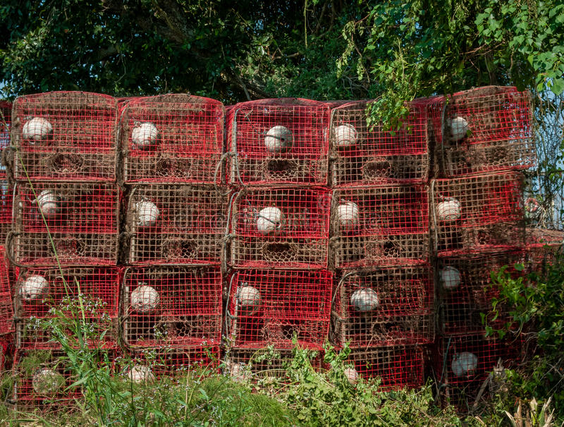 Trampas del cangrejo de Luisiana fotos de archivo libres de regalías