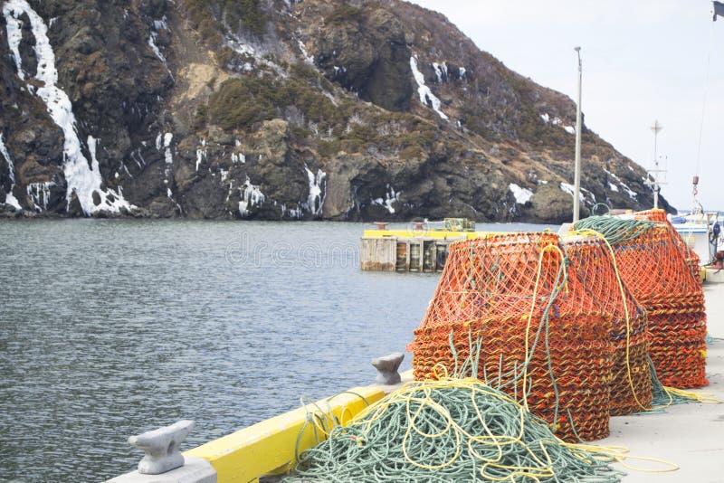 Trampas del cangrejo en un muelle en Terranova rural imagen de archivo libre de regalías