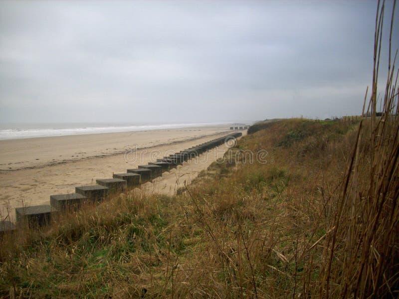 Trampas del tanque de la playa de la Segunda Guerra Mundial foto de archivo libre de regalías