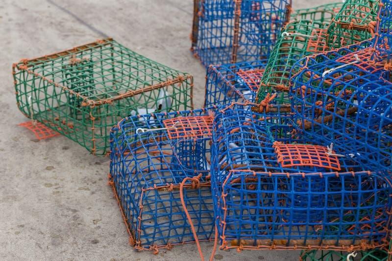 Trampas para el pulpo de los crustáceos en muelle fotos de archivo libres de regalías