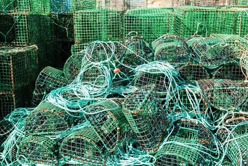 Trampas para el pulpo y los pescados de cogida fotografía de archivo libre de regalías