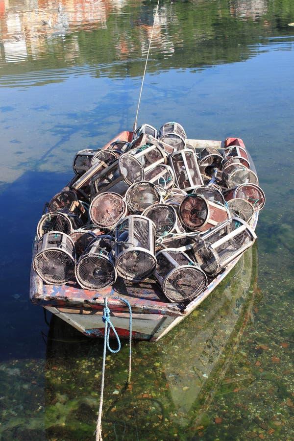 Trampas tradicionales para las industrias pesqueras y los mariscos de la captura fotografía de archivo libre de regalías
