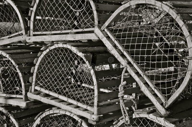 Trampas viejas de la langosta imágenes de archivo libres de regalías