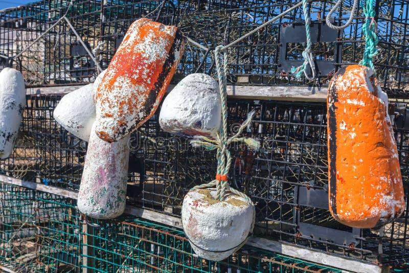 Trampas y boyas de la langosta foto de archivo libre de regalías