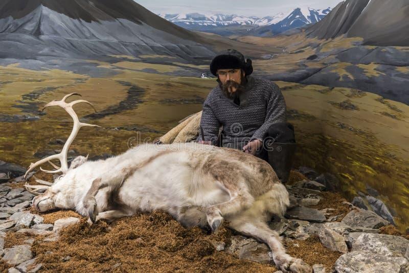 Trampero del reno en el museo polar Tromsø foto de archivo libre de regalías