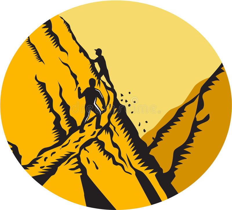 Trampers, die steilen Weg-Gebirgsoval-Holzschnitt klettern stock abbildung