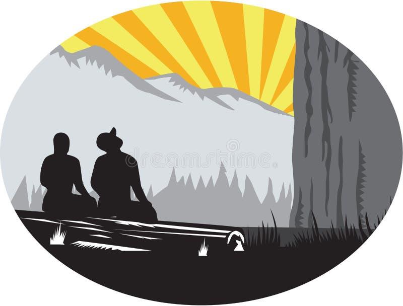 Trampers som sitter se upp bergOvalträsnitt royaltyfri illustrationer