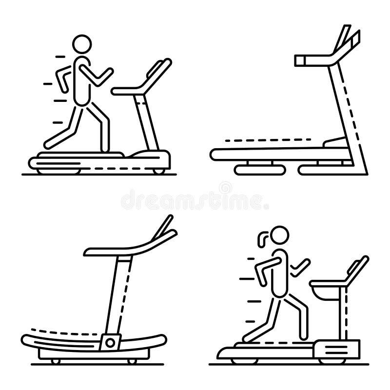 Trampkvarnsymbolsuppsättning, översiktsstil vektor illustrationer