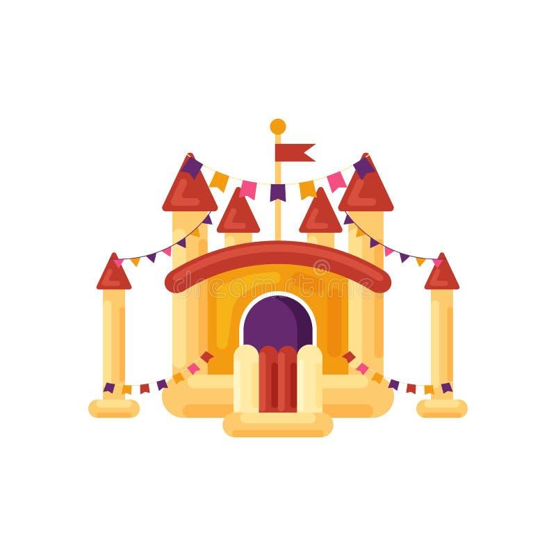 Trampolín inflable del castillo para los niños aislados en el fondo blanco Patio, elemento del parque de atracciones, infantil libre illustration