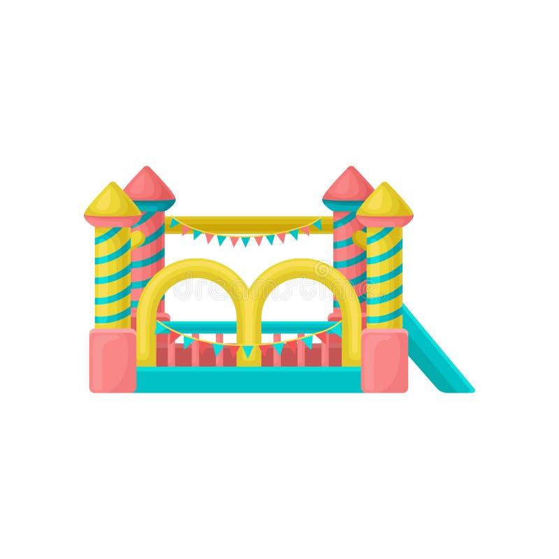 Trampolín inflable, ejemplo del vector del elemento del parque de atracciones en un fondo blanco libre illustration
