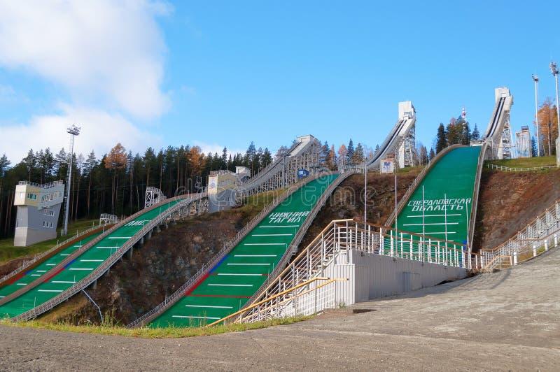 Trampolina kompleks na górze Tęsk w Nizhny Tagil Rosja fotografia stock