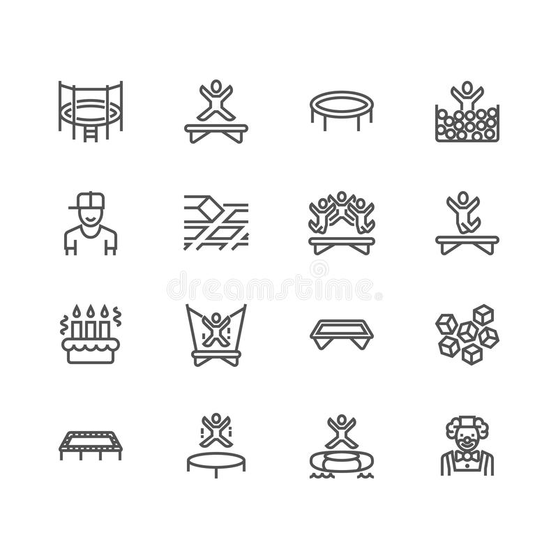 Trampoline amusement park flat line icons. Kids playground, jumping people, sport activity, clown illustration. Thin vector illustration