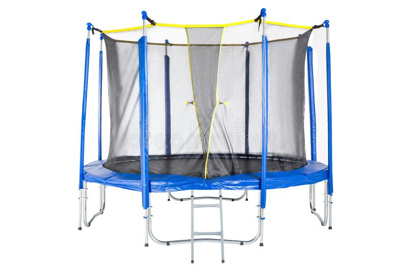 Trampoline voor kinderen en volwassenen voor pret binnen of openluchtgeschiktheid die op witte achtergrond springen Blauwe Geïsol royalty-vrije stock fotografie