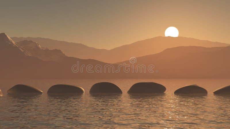 trampolines 3D en el océano contra un paisaje de la montaña de la puesta del sol stock de ilustración