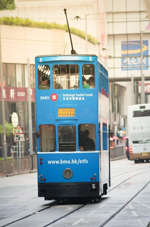 Trams d'autobus à impériale de Hong Kong image libre de droits